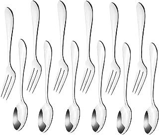 12pcs فولاد ضد زنگ چای شام سرور قاشق و کیک میوه چنگال لوازم جانبی آشپزخانه مهمانی عروسی برای دسر ، سالاد ، پیش غذا ، کوکتل (6 چنگال 6 قاشق)