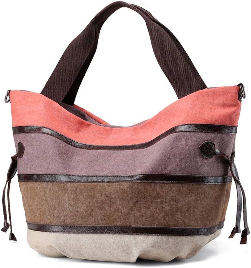 Women's Hobo Purse Canvas Shoulder Bag Striped Crossbody Bag Casual Large Capacity Travel Shopper Bag, Orange