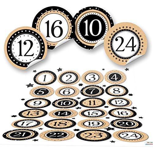 1 à 24 chiffres pour calendrier de l'Avent - 4 cm - Rond, noir, blanc, beige, naturel - Étoiles - Pour calendrier de Noël - Étiquettes autocollantes