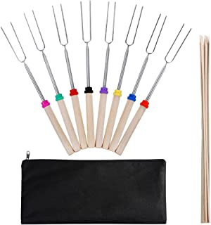 Zacro Marshmallow Roasting Sticks-Set of 8 Pcs Safe for Kids 11-31 Inches Telescoping Hot Dog Smores Forks, Extra 10pcs Wooden Stickers-, Camping, Campfire, Bonfire & Outdoor Cookware Kit