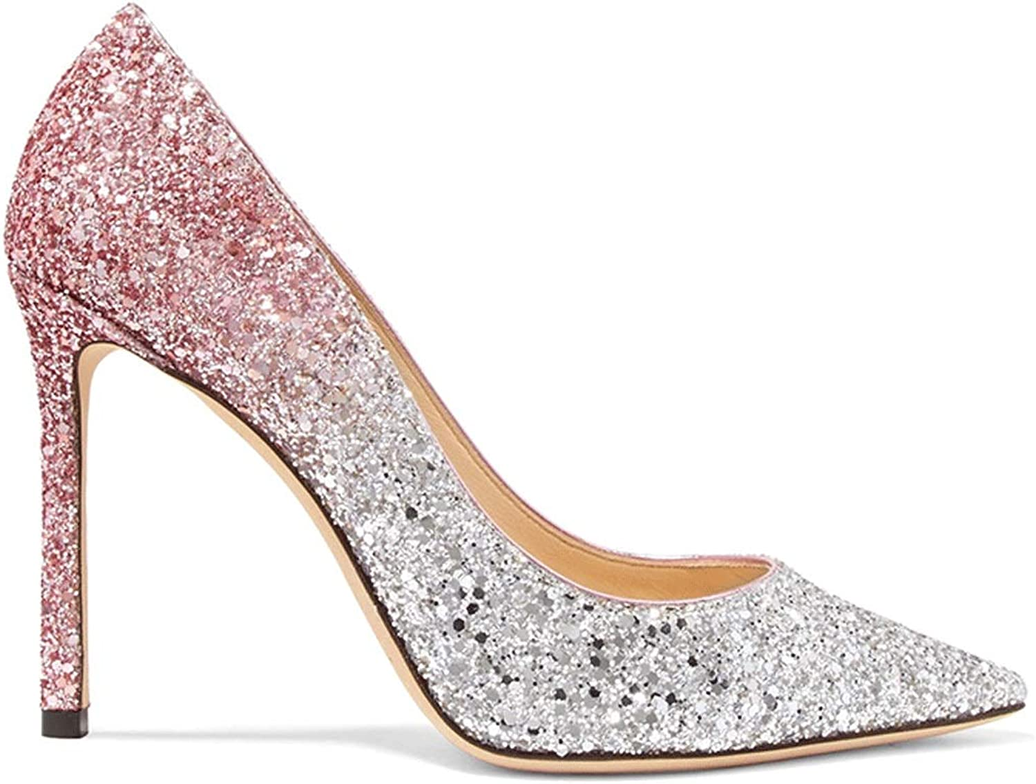 New Super High-Heeled Pointed Gradient Sequin Wedding shoes Pink Wedding Bridal shoes with Shallow Mouth Etiquette Single shoes Women Pumps