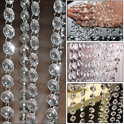 Clear Glass Crystal Beads Lamp Chain Garland Chandelier Prism Octagon Beads Chain Garland Crystal product image