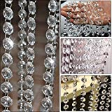 Clear Crystal Beads Chain Garland Chandelier Octagon Beads Chain Beaded Trim Clear Glass Crystal Beads Lamp Chain Garland Chandelier Prism Beads Curtain Crystal for Wedding DIY Chandelier Crystals