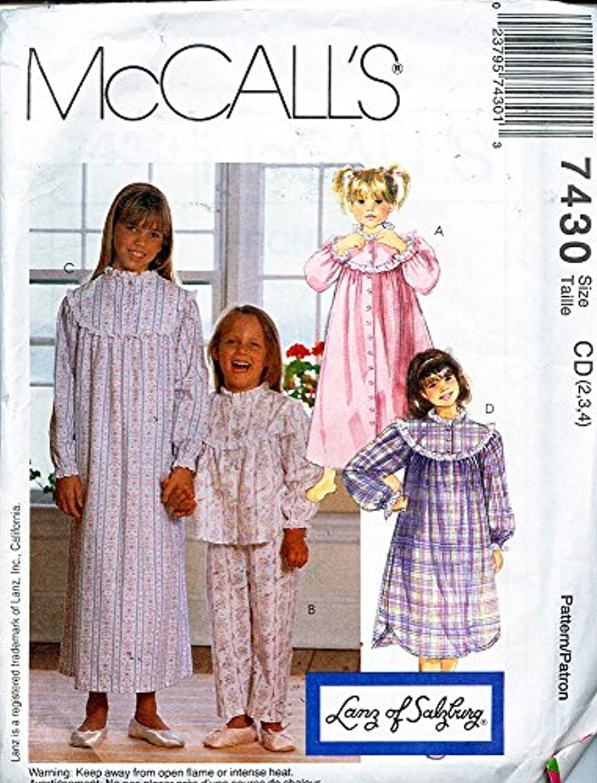 McCall's 7430 ?1994 LANZ OF SALZBURG Children's Robe, Pajama Top, Pants, Nightgown & Nightshirt; Size CD 2,3,4