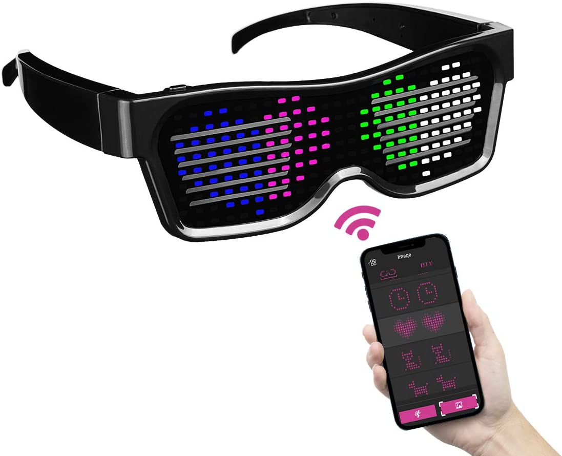 ACALEPH Customizable LED Light Up Glasses with Bluetooth for Parties,Festivals,Flashing Display DIY Text Messages,Animation,Control by APP,USB Rechargeable,Gift for Women,Men(Colour Light)