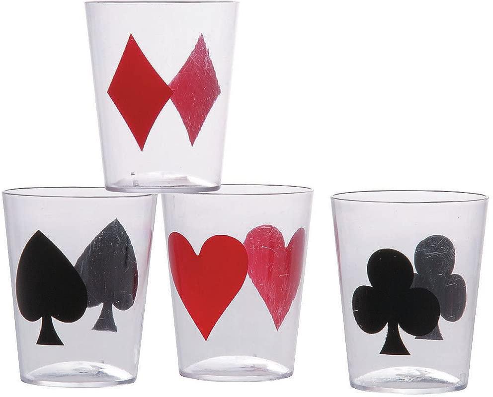 Fun Express Casino Card Suit Plastic Shot Glasses 24 Pieces