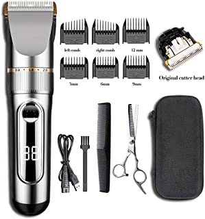 [upgraded version]Ensving Hair Clippers,2-Speed Professional Rechargeable Cordless Electric Hair Trimmer,Low Noise Beard Trimmer, Whole Body Washable Hair Cutting Kit, Multi-Purpose Haircut for Men,B