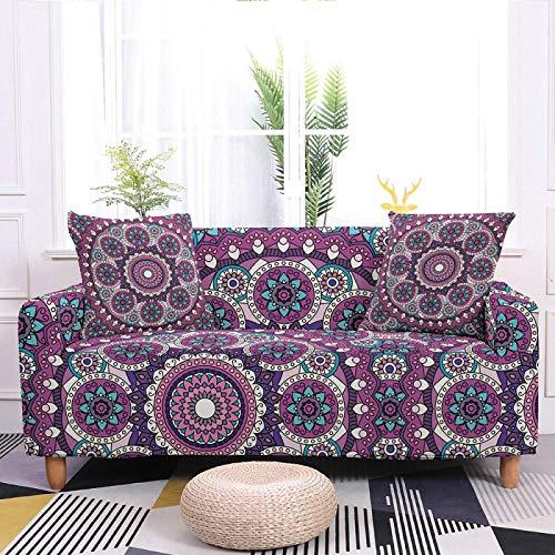 Fundas elásticas para sofá con estampado elástico, color morado profundo, tela elástica de poliéster de estilo bohemio, duradera y antideslizante, funda universal para sofá, 2 plazas, 145 y 185 cm