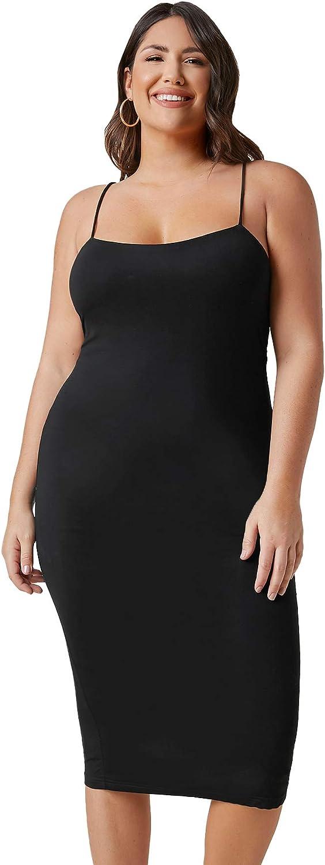Floerns Women's Plus Size Basic Spaghetti Strap Bodycon Cami Midi Dress