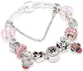 yanghcudh Silver Plated Mickey Charm Bracelet for Women Fit Brand Bracelets Women Jewelry Gifts