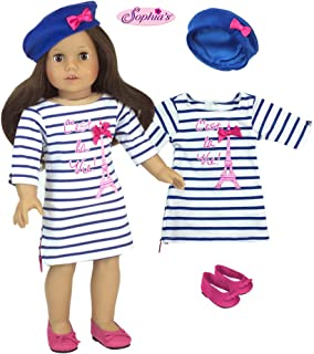 Sophia's 3 Piece Doll Outfit White and Blue Striped Dress with Eiffel Tower, Blue Beret and Pink Shoes for 18 Inch Dolls