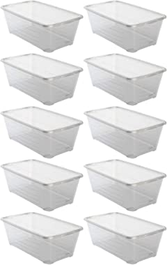 Life Story 13.7 x 8 x 4.98 Inch 6 Quart/5.7 Liter Plastic Stackable Clear Shoe and Closet Storage Box Container Bin with Lids