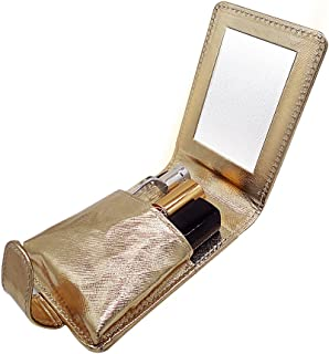 Lipstick Case Lip Gloss Pouch Carrying Case with Built in Mirror Holds 4 Regular Sized Tubes for Travel Storage Bridesmaid Gift Bachelorette Wedding Party By Fosinz (Gold)