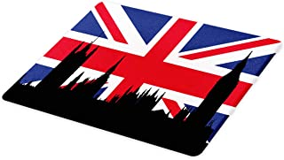 Ambesonne Union Jack Cutting Board, Houses of the Parliament Silhouette on UK Flag Historic Urban Skyline, Decorative Tempered Glass Cutting and Serving Board, Large Size, Blue Black