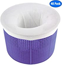Jixiangdou Pool Skimmer Socks, Pack of 40 Filter Nets Swimming Pool, Fine Nylon Mesh Sock Liner Saves Filters, Perfect Savers for Baskets & Skimmers, Removes Debris, Leaves (Basket not Included)
