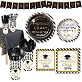 NAIWOXI Graduation Party Supplies 2021 - Graduation Tableware Included Banner, Plates, Cups, Napkins, Tablecloth, Cutlery, Straws, Congrats Grad Decorations for Graduation   Serves 24 (Black & White)
