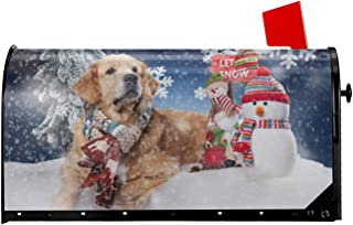 Let It Snow Mailbox Cover - Golden Retriever Welcome Magnetic Mailbox Covers Cute Dog Snowman Snowflake Wraps Merry Christmas Tree Post Letter Box Cover Garden Home Decorations Post Box Standard Size