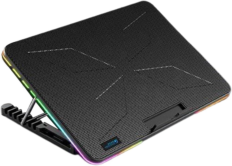 MARSPOWER Portátil RGB Gaming Laptop Silent Fan Cooler Soporte de enfriamiento de Seis Ventiladores Dos Puertos USB Notebook Cool Stand - Negro Azul 360x255x27Mm