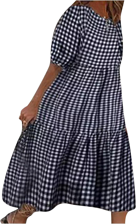 Women Summer Plus Size Plaid Dress Casual Loose Short Sleeve O-Neck A-Line Sun Dresses