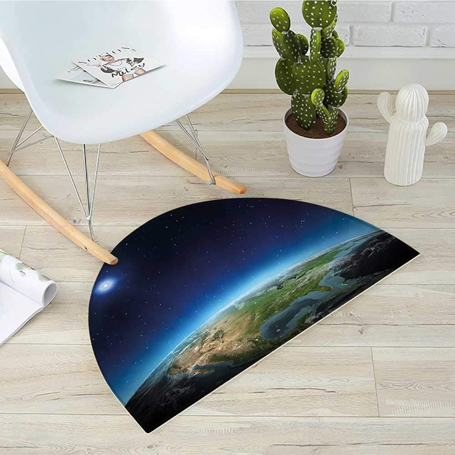 Earth Half Round Door mats North America Continent on Globe Earth Galaxy Milky Way Realistic View Bathroom Mat H 39.3  xD 59  Indigo Pale bluee Green