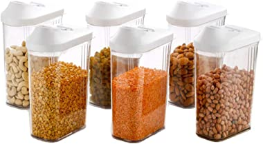 Machak Easy Flow Plastic Kitchen Storage Jars & Container Set, Transparent Set of 6, (1100ml)