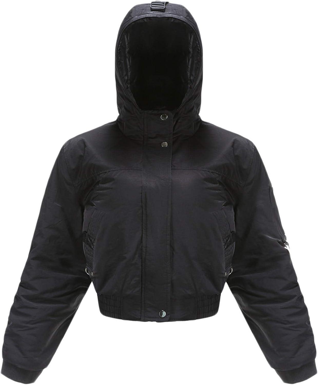 Andongnywell Women's Casual Long Sleeve Zip Up Lightweight Outwear Bomber Hooded Jacket Showing a Slim Waist