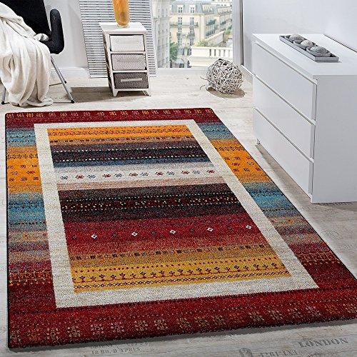 Paco Home Designer Teppich Modern Loribaft Nomaden Bordüre Gemustert Gabbeh Optik Rot Bunt, Grösse:80x150 cm