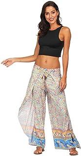 8b2a3356 RISTHY Bohemia Pantalones Anchos Mujeres con Aberturas Laterales Tallas  Grandes Sueltos Yoga Gimnasio Entrenamiento Ejercicio Pantalones