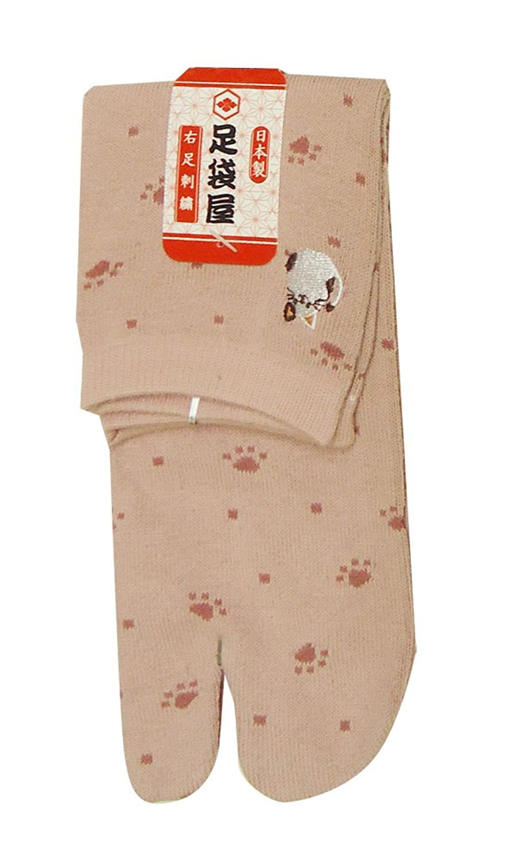 足袋屋 レディース 猫 柄 刺繍 足袋 ソックス (婦人 日本製 靴下) 22-25cm