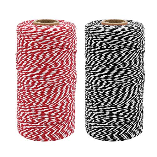 Tenn Well Bakers Twine, 656 Feet 2mm Striped Cotton Twine Ribbon for Gift Wrapping, Baking, Crafting and Festival Decoration (328 Feet/Roll)