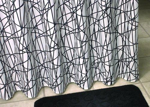 Debel 180x 230cm kreuzweise Duschvorhang 100prozent Polyester, Schwarz