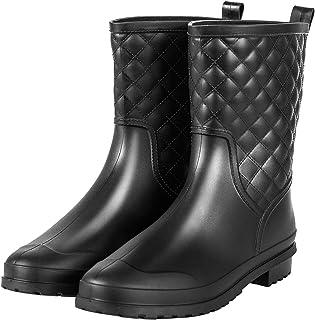 Chorade Womens Black Mid Calf Rain Boots Outdoor Work Waterproof Garden Booties Wide Calf Rain Shoes