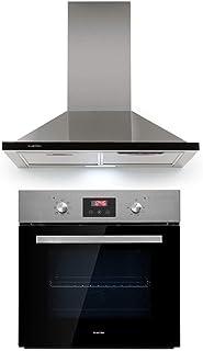 Klarstein Kalahari Galina lote de cocina - Horno y extractor de humos, Horno de 68 litros/clase A / 50-250 °C, Extractor de 60 cm/absorción de 620 m³/h / 3 niveles/clase B, Negro, Acero