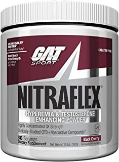 GAT - NITRAFLEX - Testosterone Boosting Powder, Increases Blood Flow, Boosts Strength and Energy, Improves Exercise Performance, Creatine-Free (Black Cherry, 30 Servings)