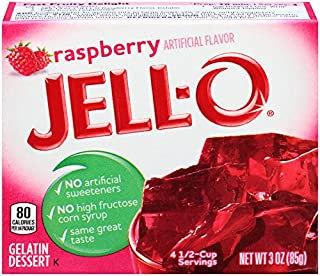 JELL-O Raspberry Gelatin Dessert Mix (3 Ounce (Pack of 6))