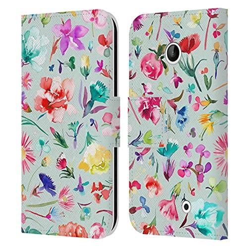 Head Case Designs Licenza Ufficiale Ninola Mini Cuffie Blu Modelli Floreali Cover in Pelle a Portafoglio Compatibile con Nokia Lumia 630