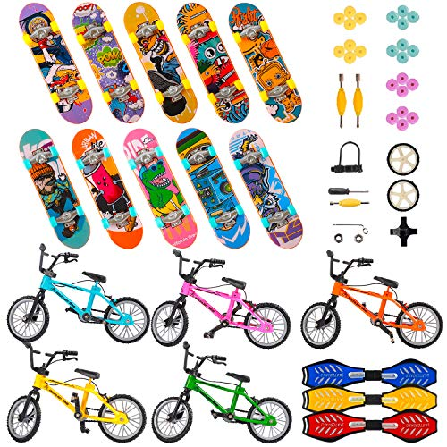 HEHALI 53Pcs Finger Skateboard Fingerboard Finger Bike Set Mini Skateboard Finger Bicycles with Replacement Wheels and Tools Toy Set as a Gift for Kids 6-12 Year Old and Party Favors