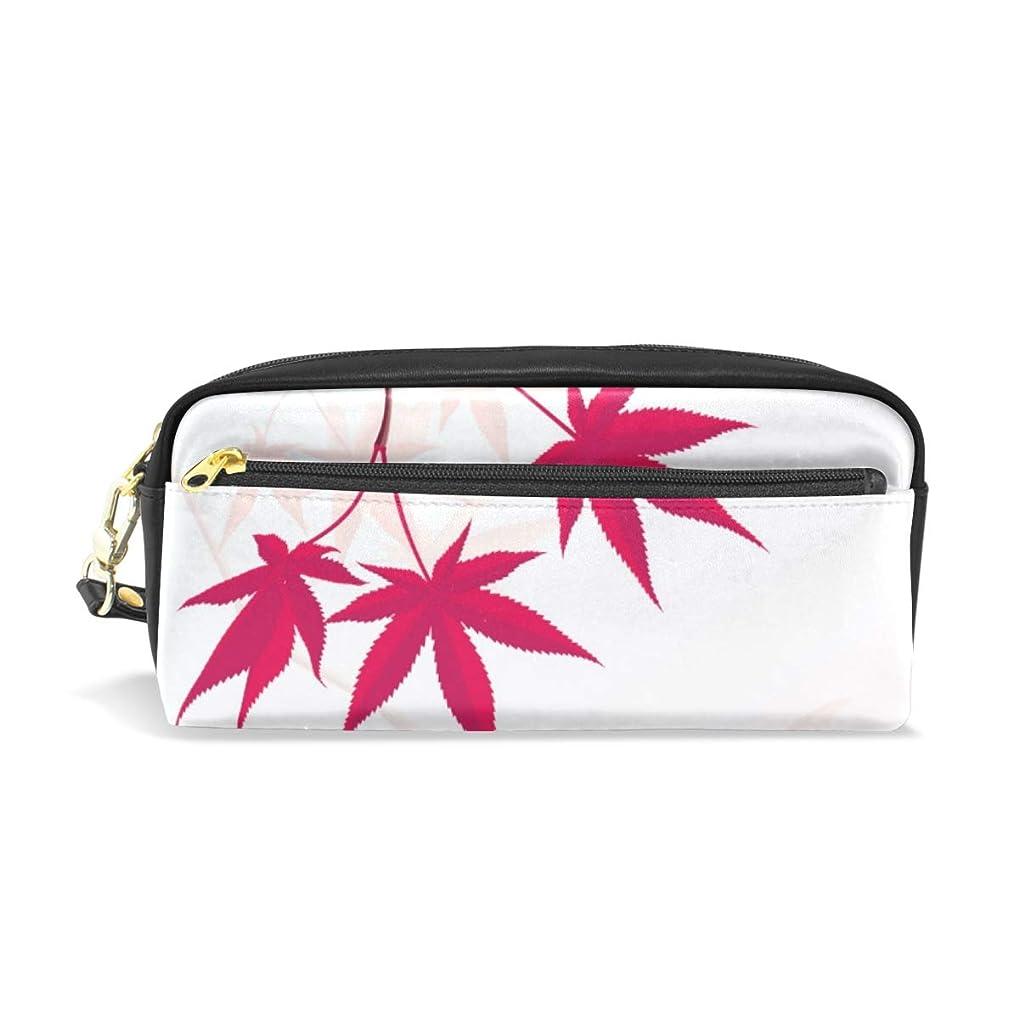 ハリケーン比較的不明瞭FengJu ペンケース ペンポーチ 高校生 女子 男子 おしゃれ かわいい 大容量 PU 化粧ポーチ 収納 小物入れ 学生 シンプル オフィス用 Japanese Maple 紅葉 葉模様