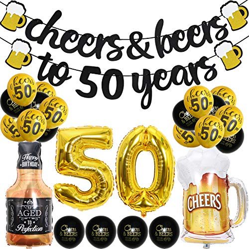 50 Year Anniversary Decorations - Cheers & Beers to 50 Years Banner Fifty Sign Latex Balloon 40 inch50 Gold Balloon 35 inch Cheers Beers Cups Foil Balloons for 50th Birthday Wedding Party Supplies