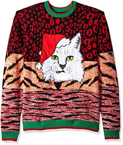 Blizzard Bay Men's Ugly Christmas Sweater Cat, Orange/Red, Medium