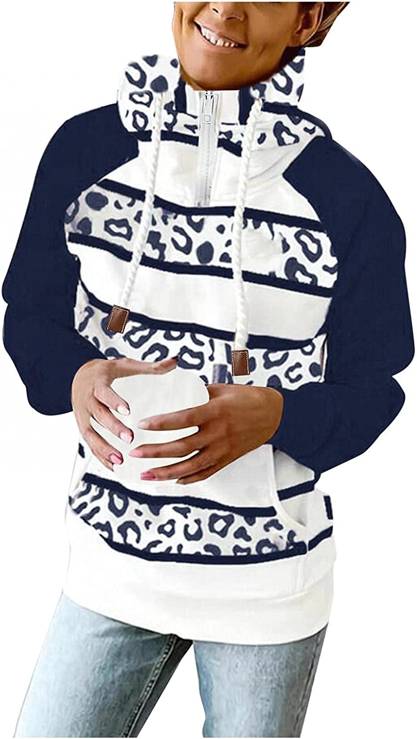 Gibobby Hooded Sweatshirts for Women Fleece Blouses Casual Button Down Pocket Pullover Long Sleeve Drawstring Hoodies