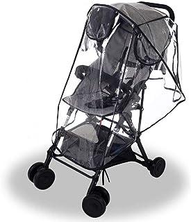 Wemk Protector de Lluvia para Silla de Paseo, Cubierta de Lluvia para Cochecitos, con 3 Ventanas de Ventilación, Transparente Burbuja de Lluvia de Material de EVA - Tamaño Grande