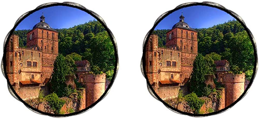 Bronze Retro Style Travel Heidelberger Schloss Castle Clip On Earrings Flower Earrings #12