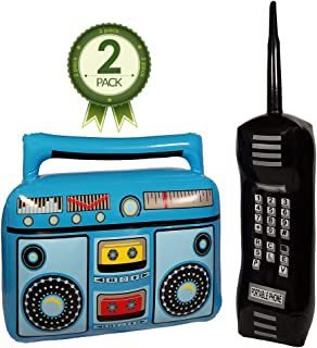 NorNovelties Inflatable Boom Box & Phone – 80s & 90s Party Accessories for Men & Women - Brick Cell