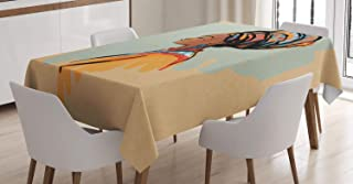 """Ambesonne African Tablecloth, Watercolor Profile Portrait of Native Woman with Hairdo and Earrings, Dining Room Kitchen Rectangular Table Cover, 60"""" X 84"""", Pastel Brown"""