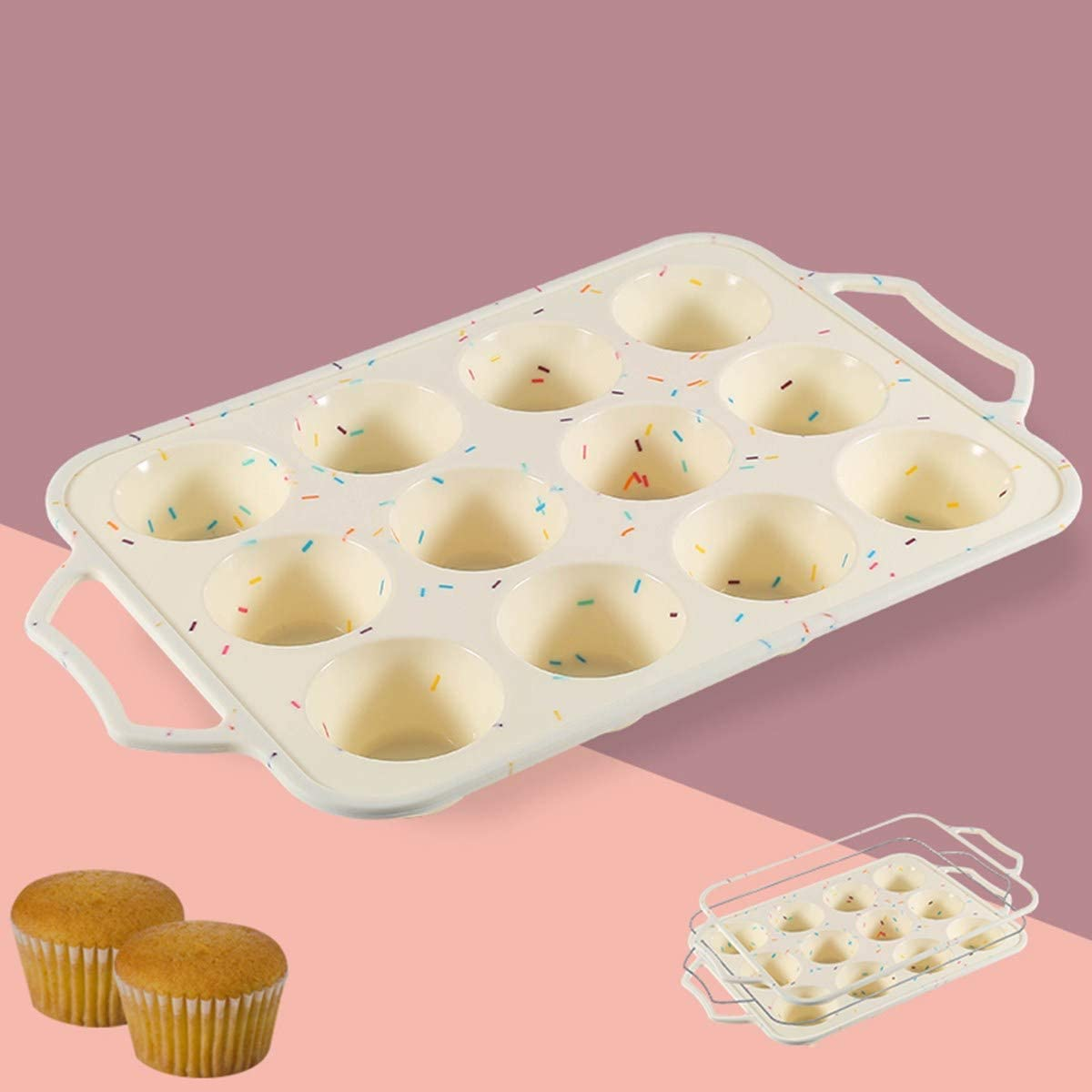 LINGSFIRE Brand Cheap Sale Venue Silicone Muffin Pan Max 79% OFF Pans with 12 Cups Nonstick