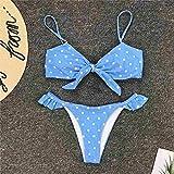 Sexy Mujer Top Bikini Talle Alto,Sexy Bow Polka Dot Bikini Swimwear,Traje de baño Femenino de Dos Piezas Set-Blue_L,Traje de Baño Mujer Atractivo Sujetador