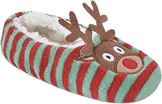 Ladies Reindeer and Penguin Christmas Ballet Slippers