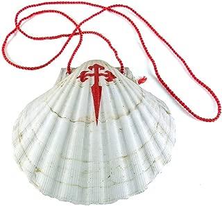 Concha de Santiago. Vieira del Peregrino con Cruz de Santiago y cordón para colgar de 11x10 cms