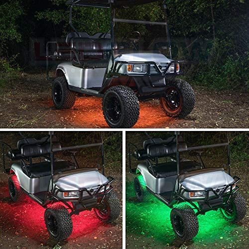 LEDGlow 4pc Expandable Million Color LED Golf Cart Underglow Accent Neon Lighting Kit for EZGO Yamaha Club Car - Fits Electric & Gas Golf Carts - Water Resistant Flexible Tubes - Current Model
